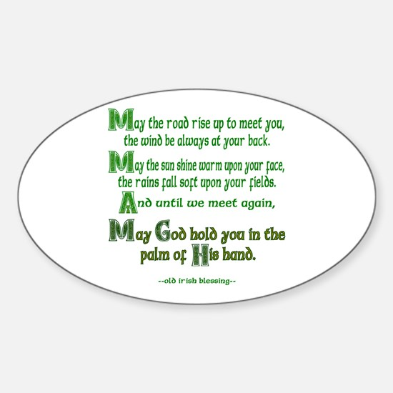 """Irish Blessing """"May the Road"""" Oval Decal"""
