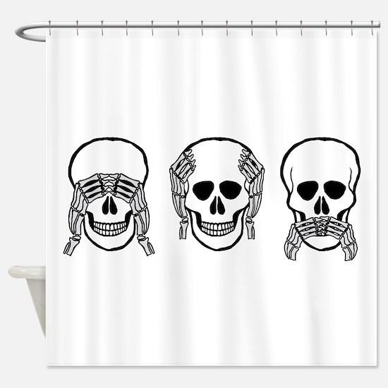Three wise skulls Shower Curtain