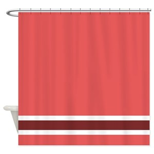 Dark Red Stripe Shower Curtains