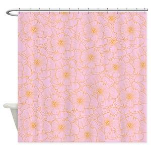 Orange Glitter Shower Curtains