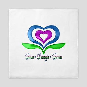 Live Laugh Love Hearts Queen Duvet