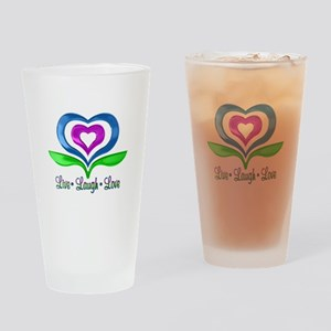 Live Laugh Love Hearts Drinking Glass