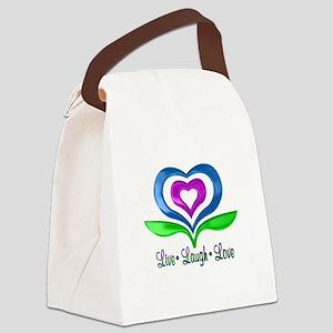 Live Laugh Love Hearts Canvas Lunch Bag