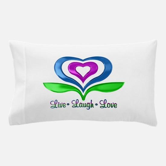 Live Laugh Love Hearts Pillow Case