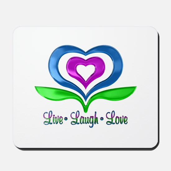 Live Laugh Love Hearts Mousepad