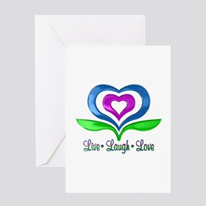 Live Laugh Love Hearts Greeting Card