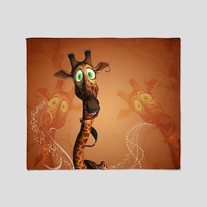 Funny giraffe Throw Blanket