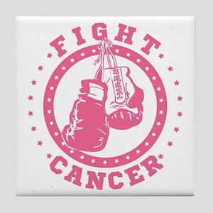 Pink Boxing Gloves Fight Cancer Tile Coaster