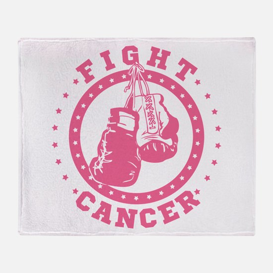 Pink Boxing Gloves Fight Cancer Throw Blanket