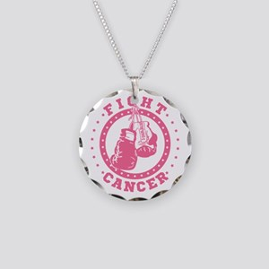 Pink Boxing Gloves Fight Can Necklace Circle Charm