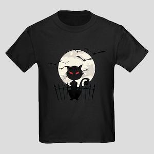 Halloween Cat Fool Moon And Flying Bats T-Shirt