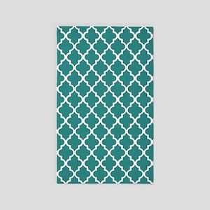 Teal Moroccan Quatrefoil Pattern Area Rug