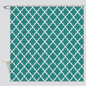 Teal Moroccan Quatrefoil Pattern Shower Curtain