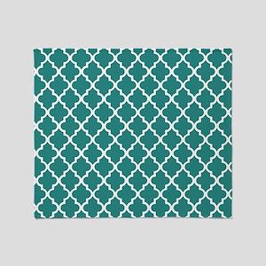 Teal Moroccan Quatrefoil Pattern Throw Blanket