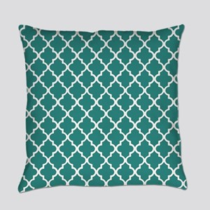 Teal Moroccan Quatrefoil Pattern Everyday Pillow
