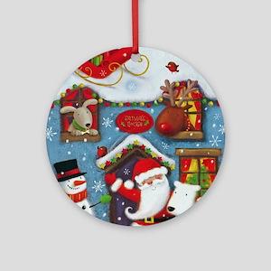 Santa's House Round Ornament