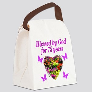 BLESSED 75TH Canvas Lunch Bag
