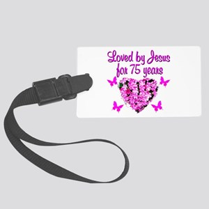 BLESSED 75TH Large Luggage Tag