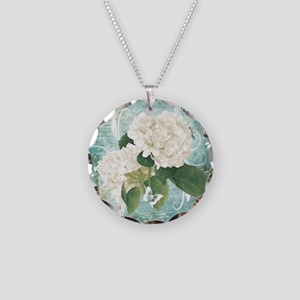 White hydrangea on blue Necklace Circle Charm