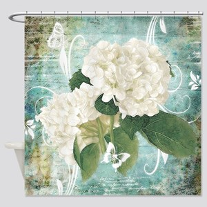 White hydrangea on blue Shower Curtain