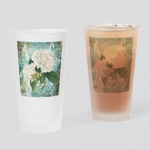 White hydrangea on blue Drinking Glass