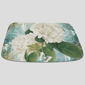 White hydrangea on blue Bathmat