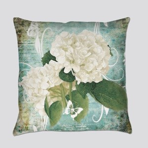 White hydrangea on blue Everyday Pillow