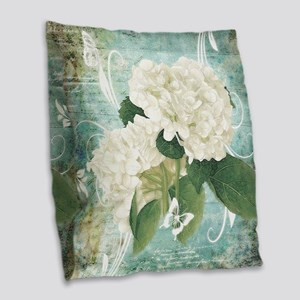 White hydrangea on blue Burlap Throw Pillow