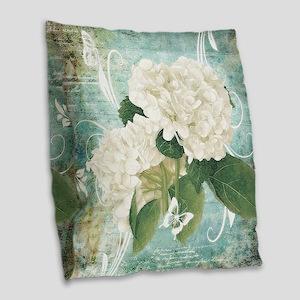 White hydrangea on blue Burlap Throw Pillow