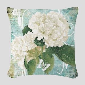 White hydrangea on blue Woven Throw Pillow
