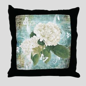 White hydrangea on blue Throw Pillow