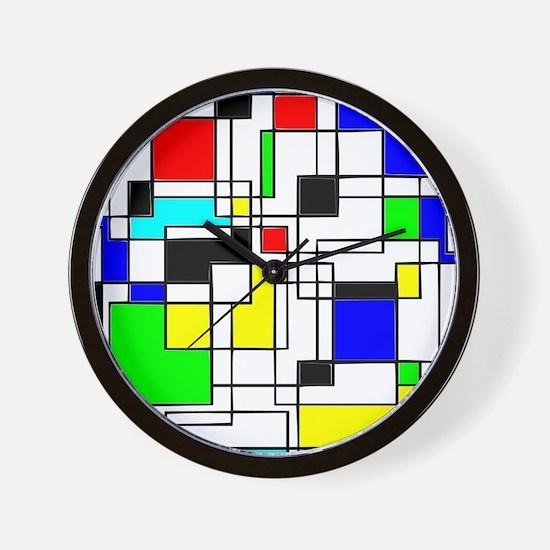 Random Squares Homage To Mondrian Wall Clock