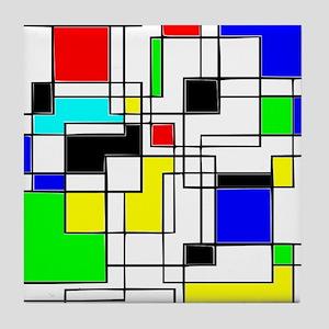 Random Squares Homage To Mondrian Tile Coaster