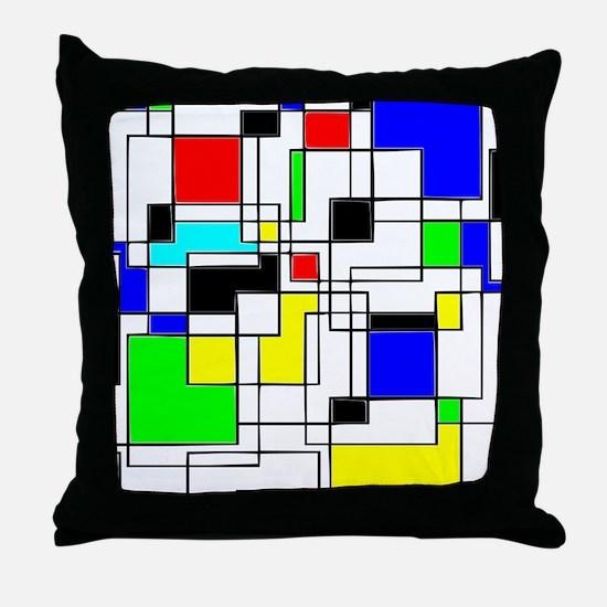 Random Squares Homage To Mondrian Throw Pillow