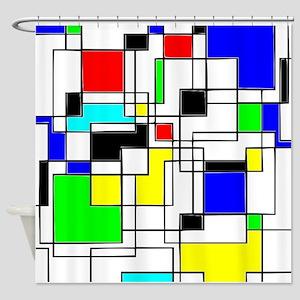Random Squares Homage To Mondrian Shower Curtain