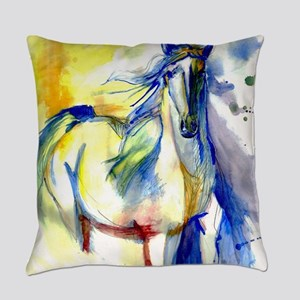 Watercolor Mustang Everyday Pillow