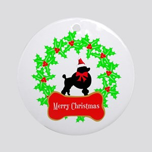 Merry Christmas Poodle Round Ornament