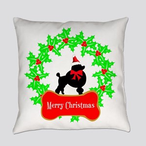 Merry Christmas Poodle Everyday Pillow