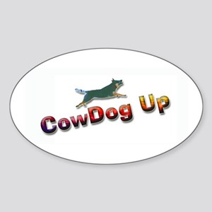 "AuCaDogs ""CowDog Up""TM Photo Art Oval Sticker"