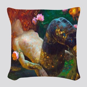 Red Haired Mermaid 2 Woven Throw Pillow