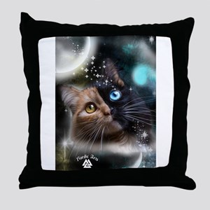 space kitty Throw Pillow