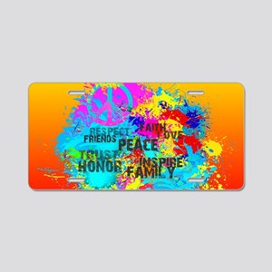 Bright Burst of Colorful In Aluminum License Plate