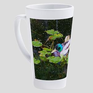 Mallard duck in a pond 17 oz Latte Mug
