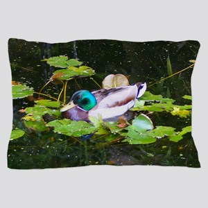 Mallard duck in a pond Pillow Case