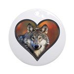 Wolf Heart Round Ornament