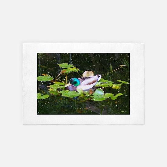 Mallard duck in a pond 4' x 6' Rug