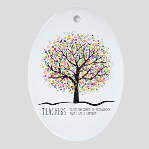 Teacher appreciation quote Oval Ornament