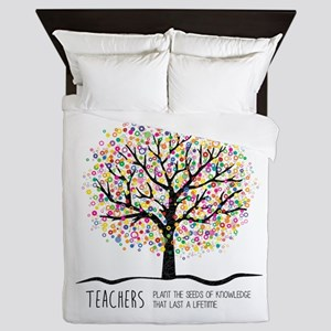 Teacher appreciation quote Queen Duvet