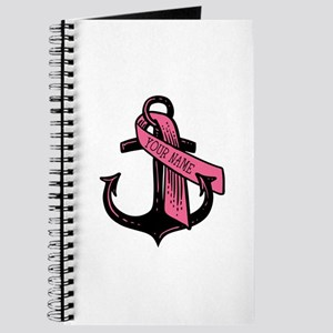 Personalized Pink Ribbon Anchor Journal