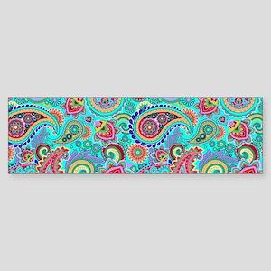 Retro Colorful Vintage Paisley Patt Bumper Sticker